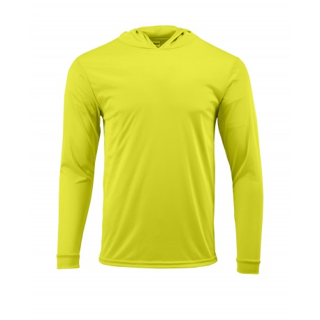 SM0220 Paragon SM0220 Bahama Adult Long Sleeve Hooded Performance Tee SAFETY GREEN