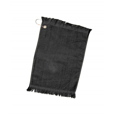 Q0T100CG Q-Tees Q0T100CG Fingertip Towel with Fringed End and Corner Grommet BLACK
