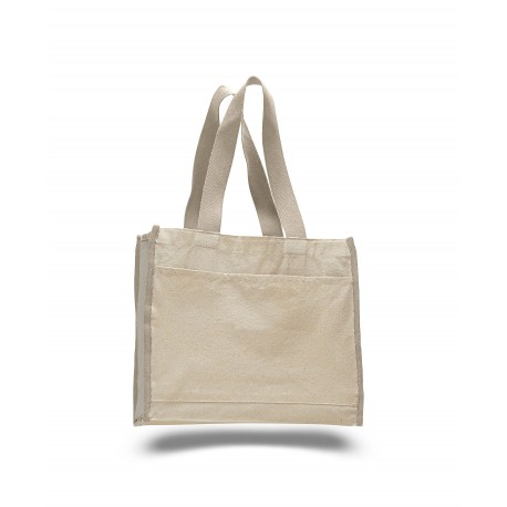 Q1100 Q-Tees Q1100 Canvas Gusset Tote Bag with Colored Handles NATURAL