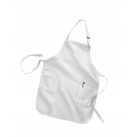 Q4350 Q-Tees Q4350 Full Length Apron with 2 Patch Pockets WHITE