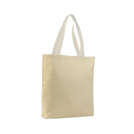 Q4400 Q-Tees Q4400 Promotional Tote with Bottom Gusset and Colored Handles Natural/White