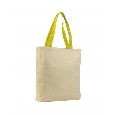Q4400 Q-Tees Q4400 Promotional Tote with Bottom Gusset and Colored Handles Natural/Yellow