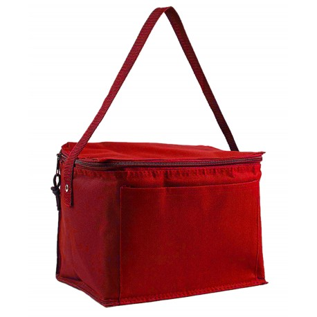 Q91216 Q-Tees Q91216 Polyester 6-Pack Cooler RED