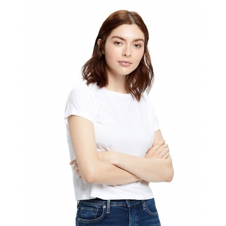 US0521 US Blanks US0521 Womens S/S Crop Crew T WHITE