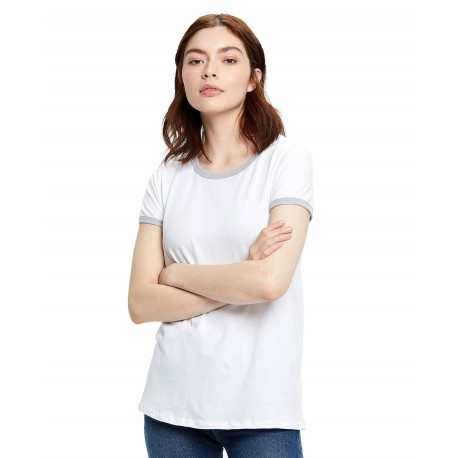 US0609 US Blanks US0609 Womens Classic Ringer T White/Heather Grey