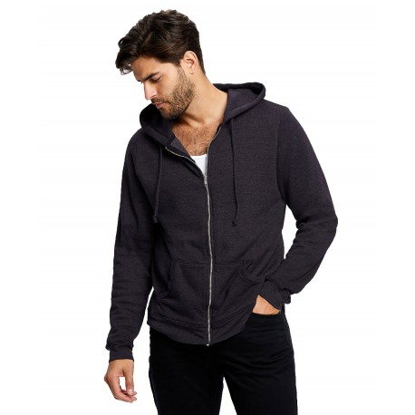 US8010 US Blanks US8010 Adult Tri-blend French Terry Full Zip BLACK