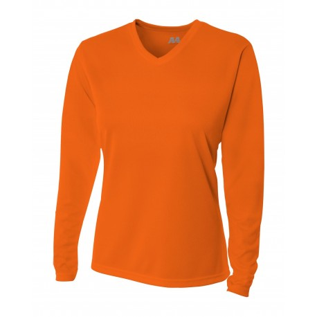 A4NW3255 A4 A4NW3255 Ladies' Birdseye Mesh Long Sleeve Tee ATHLETIC ORANGE