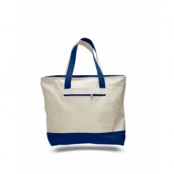 Q-Tees Q01300 Canvas Zipper Tote with Colored Handles