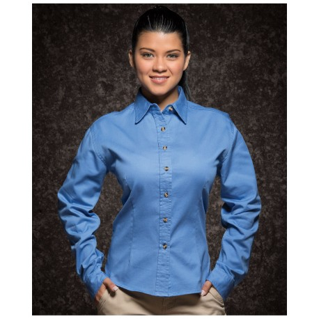 SP5201 Sierra Pacific Apparel SP5201 Featherlite Ladies Long Sleeve Twill Natural Chino