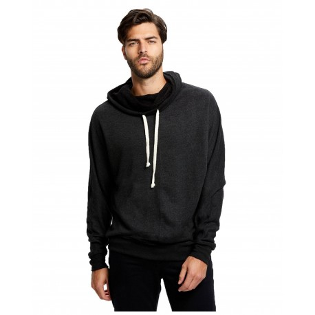 AAMT498W American Apparel AAMT498W Mock Twist Pullover Hoodie PEPPERED LAPIS