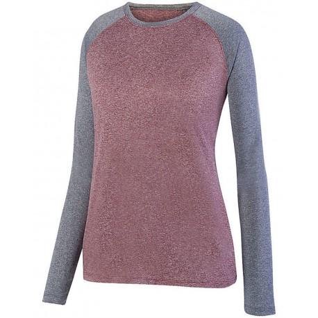 2817 Augusta Sportswear 2817 Women's Kinergy Two Color Long Sleeve Raglan T-Shirt Power Pink Heather/ Graphite Heather
