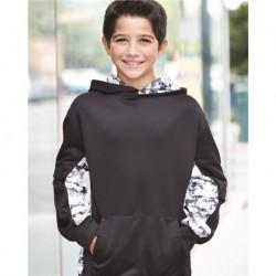 Badger 2464 Youth Digital Camo Colorblock Performance Fleece Hooded Sweatshirt