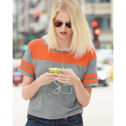 Blue 84 JTCT USA-Made Juniors' Triblend Striped Cropped Tee