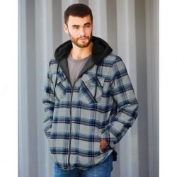 Burnside 8620 Quilted Flannel Full-Zip Hooded Jacket
