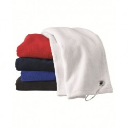 Carmel Towel Company C1518GH Velour Hemmed Towel with Grommet & Hook