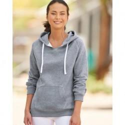 J. America 8836 Women's Sueded V-Neck Hooded Sweatshirt