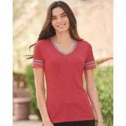 JERZEES 602WVR Women's Varsity Triblend V-Neck T-Shirt