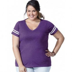 LAT 3837 Curvy Collection Women's Vintage Football T-Shirt