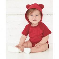 Rabbit Skins 4417 Fine Jersey Infant Short Sleeve Raglan Bodysuit with Hood & Ears