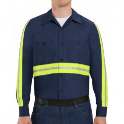Red Kap SP14EL Industrial Enhanced-Visibility Long Sleeve Work Shirt - Long Sizes