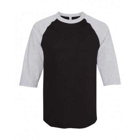 1334 ALSTYLE 1334 Classic Raglan Three-Quarter Sleeve T-Shirt Black/ Athletic Heather