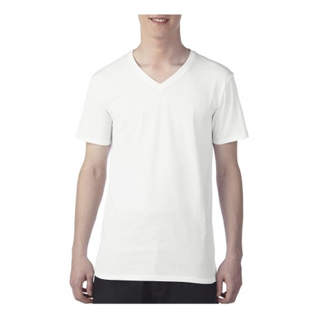 352 Anvil 352 Featherweight V-Neck T-Shirt WHITE