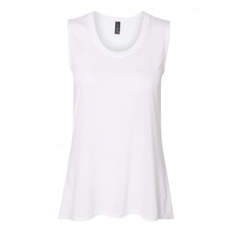 37PVL Anvil 37PVL Women's Freedom Sleeveless T-Shirt WHITE