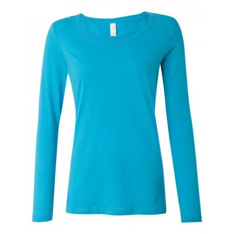399 Anvil 399 Women's Featherweight Long Sleeve Scoop T-Shirt CARIBBEAN BLUE