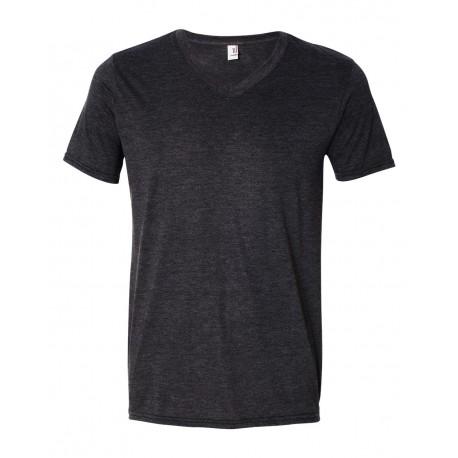 6752 Anvil 6752 Triblend V-Neck T-Shirt Heather Dark Grey