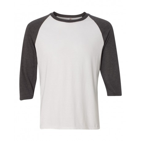 6755 Anvil 6755 Triblend Raglan Three-Quarter Sleeve T-Shirt White/ Heather Dark Grey
