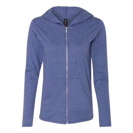 6759L Anvil 6759L Women's Triblend Full-Zip Hooded Long Sleeve T-Shirt HEATHER BLUE