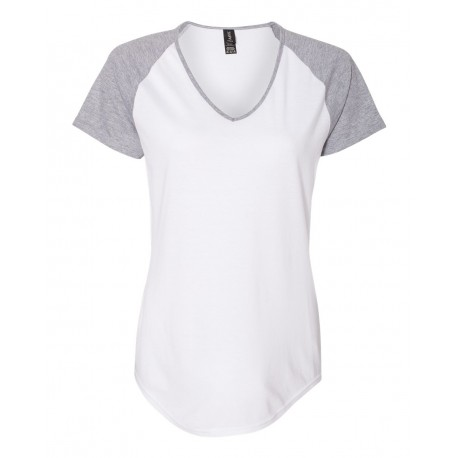 6770VL Anvil 6770VL Women's Triblend Colorblocked Raglan T-Shirt White/ Heather Grey