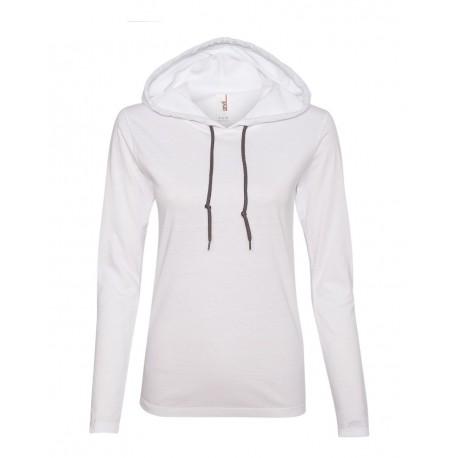 887L Anvil 887L Women's Lightweight Hooded Long Sleeve T-Shirt White/ Dark Grey