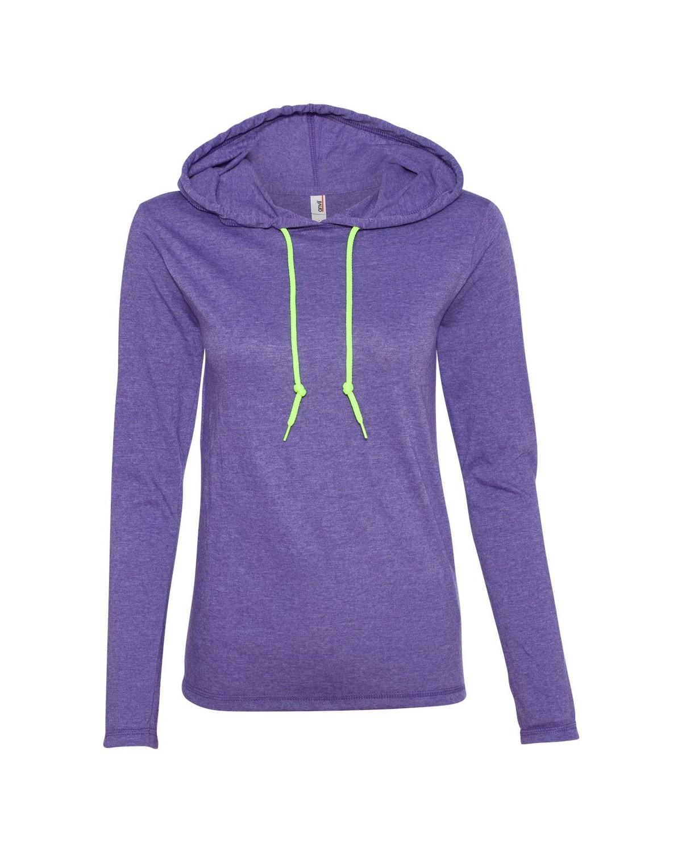 887L Anvil Heather Purple/ Neon Yellow