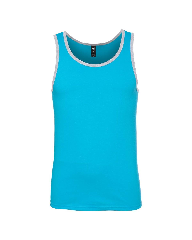 986 Anvil Caribbean Blue/ Heather Grey