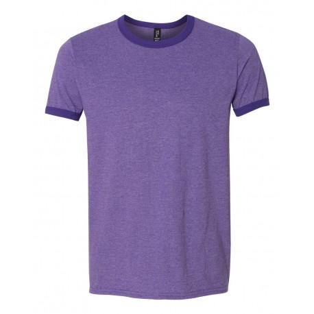 988 Anvil 988 Lightweight Ringer T-Shirt Heather Purple/ Purple