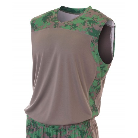 A4N2345 A4 A4N2345 Adult Camo Performance Sleeveless Jersey FOREST