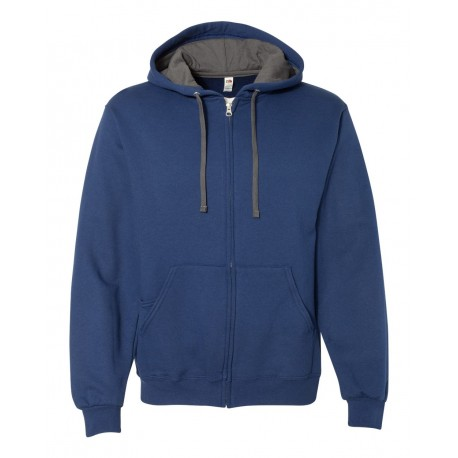 SF73R Fruit of the Loom SF73R Sofspun Hooded Full-Zip Sweatshirt ADMIRAL BLUE