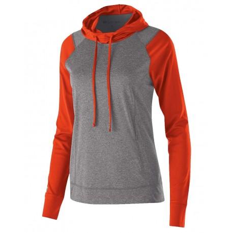 222739 Holloway 222739 Women's Echo Hooded Pullover Graphite Heather/ Orange
