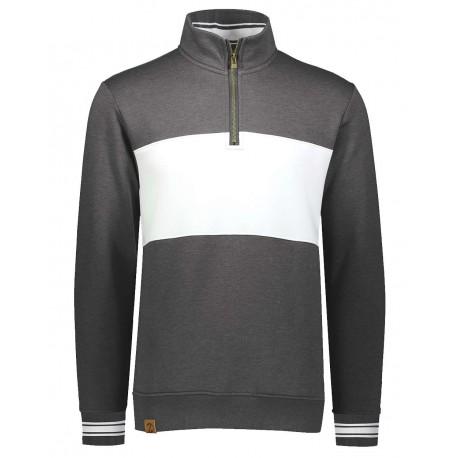 229565 Holloway 229565 Ivy League Fleece Colorblocked Quarter-Zip Sweatshirt Carbon Heather/ White