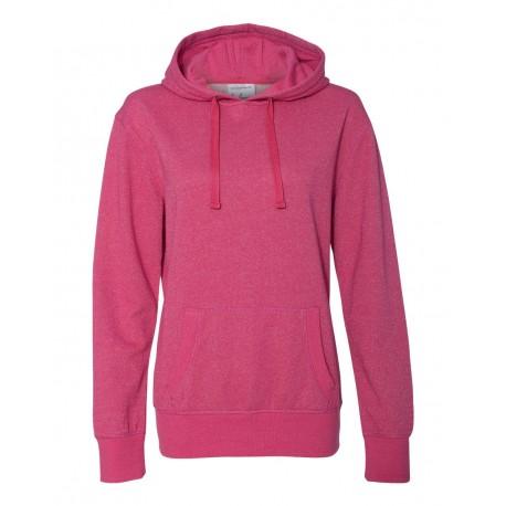 8860 J. America 8860 Women's Glitter French Terry Hooded Sweatshirt Wildberry/ Silver
