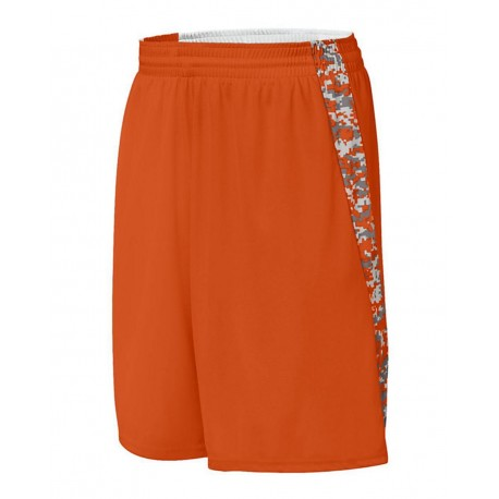1164 Augusta Sportswear 1164 Youth Hook Shot Reversible Shorts Orange/ Orange Digi