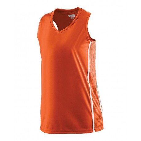 1183 Augusta Sportswear 1183 Girls' Winning Streak Racerback Jersey ORANGE/ WHITE
