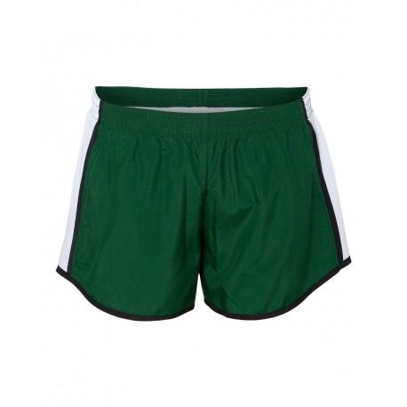 1265 Augusta Sportswear 1265 Women's Pulse Team Running Shorts Dark Green/ White/ Black