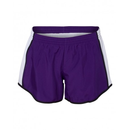 1265 Augusta Sportswear 1265 Women's Pulse Team Running Shorts Purple/ White/ Black