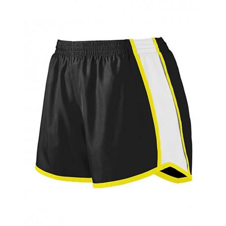 1266 Augusta Sportswear 1266 Girls' Pulse Team Shorts Black/ White/ Power Yellow