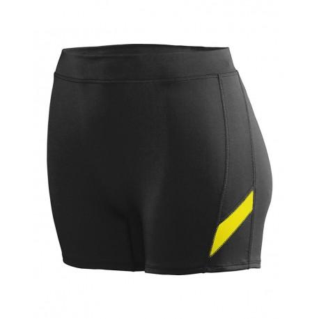 1335 Augusta Sportswear 1335 Women's Stride Shorts Black/ Power Yellow