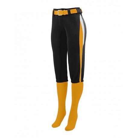 1341 Augusta Sportswear 1341 Girls' Comet Pants Black/ Gold/ White
