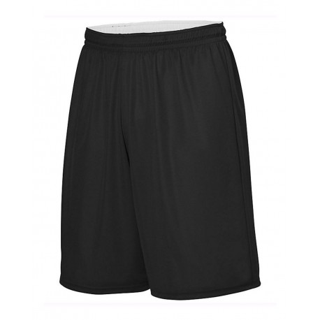 1406 Augusta Sportswear 1406 Reversible Wicking Shorts BLACK/ WHITE