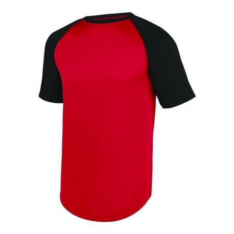 1509 Augusta Sportswear 1509 Youth Wicking Short Sleeve Baseball Jersey RED/ BLACK